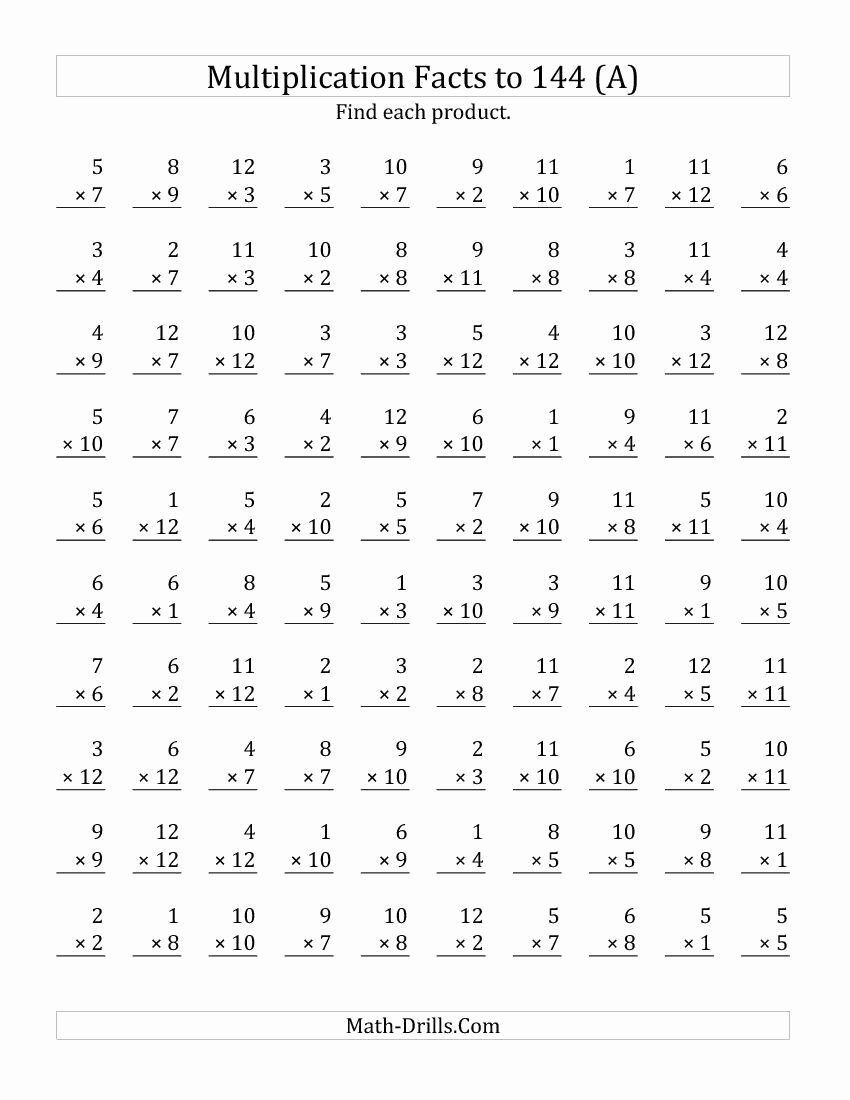 Printable Free Multiplication Worksheets Unique Printable Multiplication Worksheets for 4th Grade
