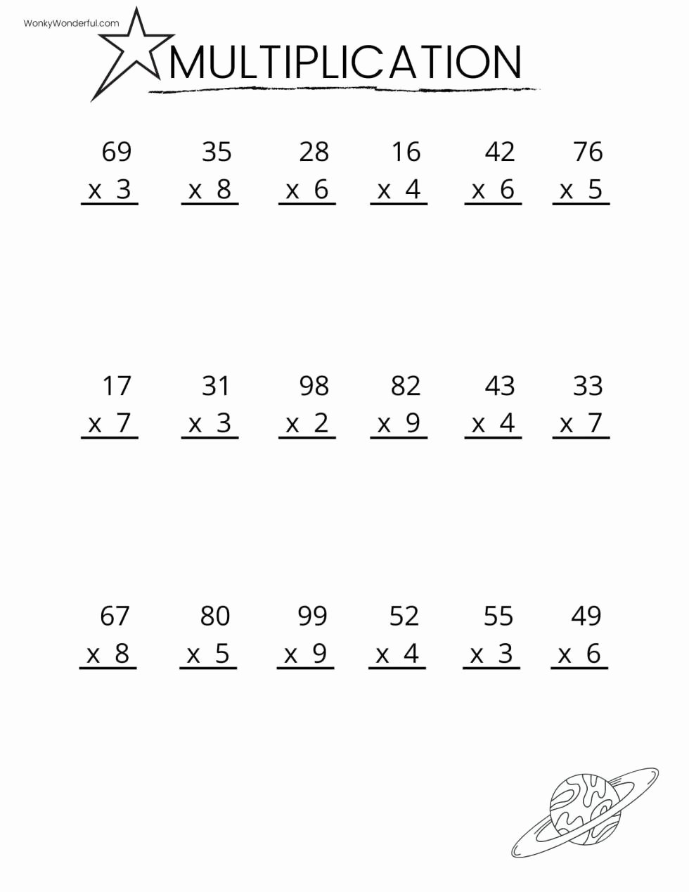 Printable Math Multiplication Worksheets Unique Free Printable Multiplication Worksheets Wonkywonderful