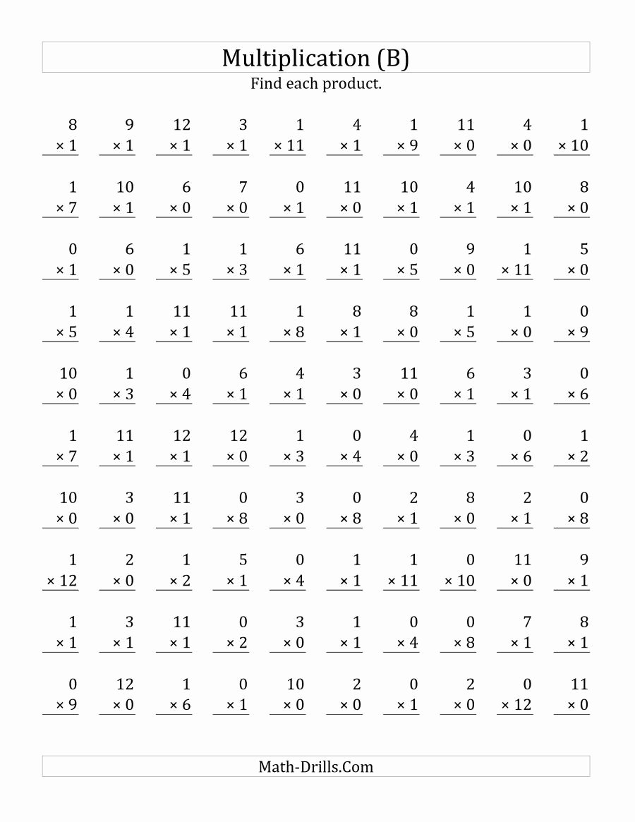 Printable Multiplication Worksheets 0 12 Lovely the Multiplying 1 to 12 by 0 and 1 B Math Worksheet
