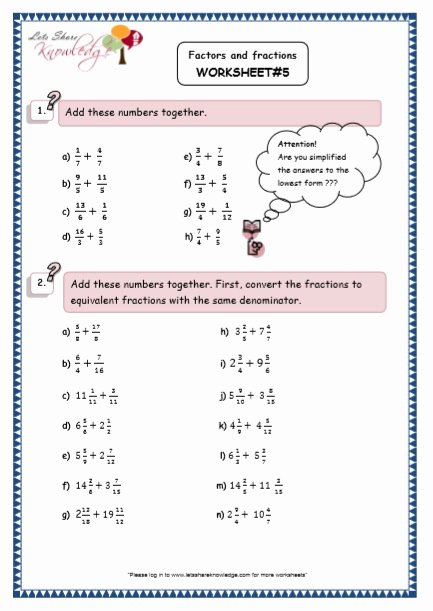 Printable Multiplication Worksheets Grade 5 Inspirational Grade Maths Resources Factors and Fractions Printable Year