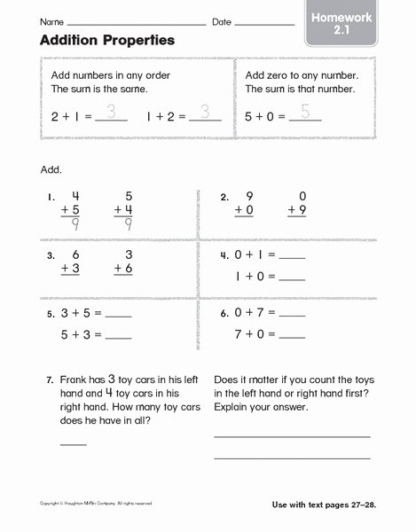 Properties Of Addition and Multiplication Worksheets Awesome Addition Properties Homework 2 1 Worksheet for 1st 2nd
