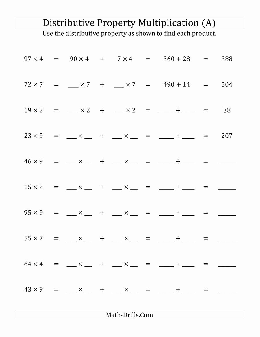 Properties Of Addition and Multiplication Worksheets Lovely Multiply 2 Digit by 1 Digit Numbers Using the Distributive