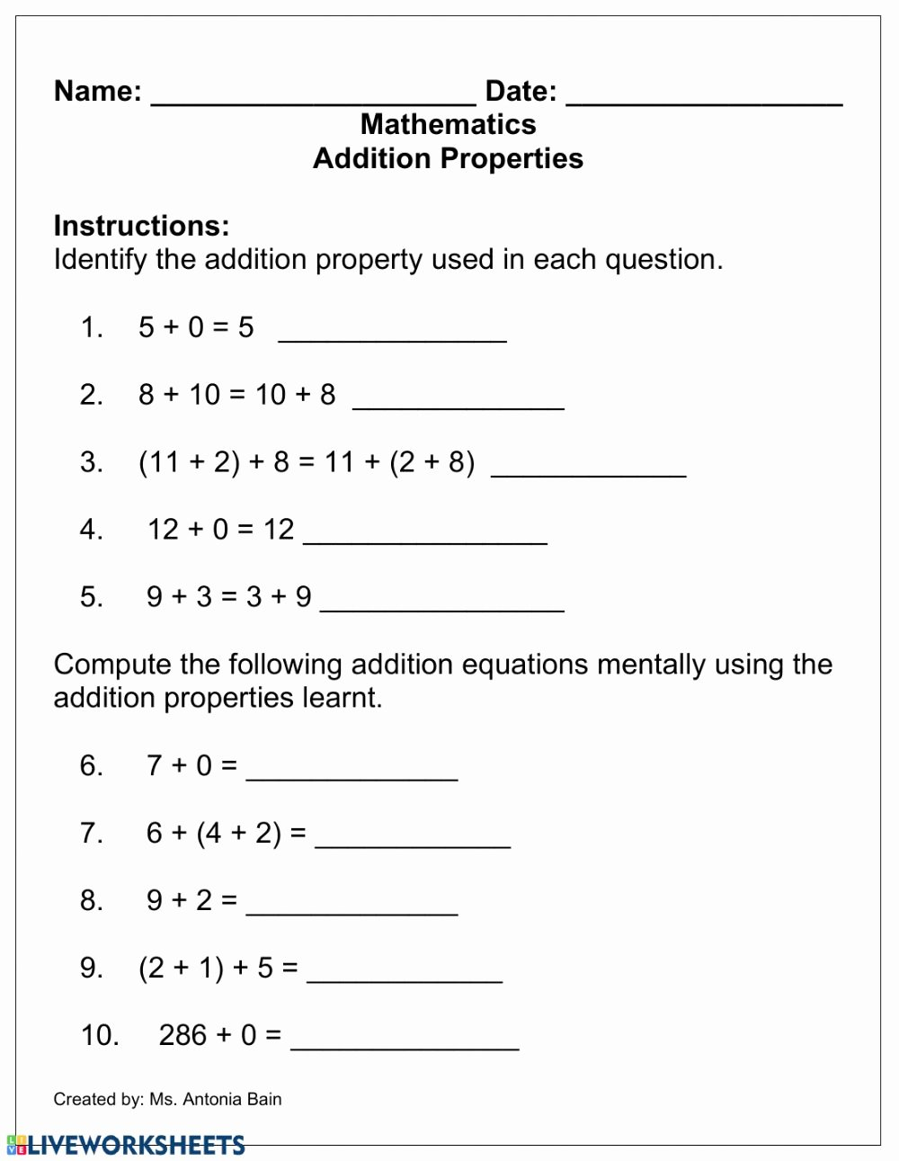 Properties Of Addition and Multiplication Worksheets top Addition Properties Interactive Worksheet