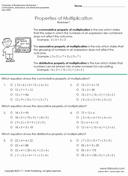 Properties Of Addition and Multiplication Worksheets Unique Properties Of Multiplication