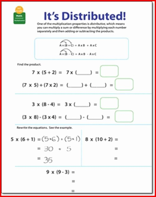 Properties Of Multiplication Worksheets Best Of Distributive Property Multiplication 3rd Grade