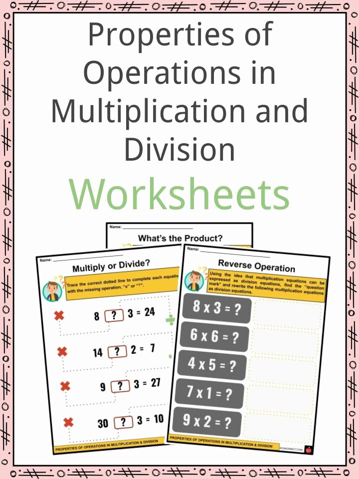 Properties Of Multiplication Worksheets Best Of Properties Of Operations In Multiplication and Division