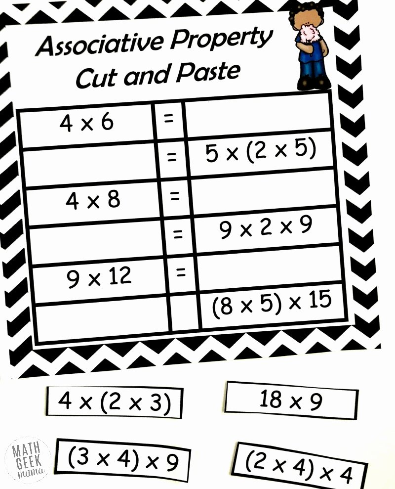 Properties Of Multiplication Worksheets Lovely Free Properties Of Multiplication Cut & Paste Practice