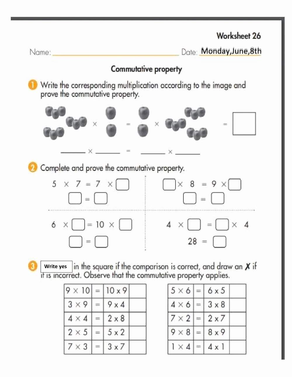 Properties Of Multiplication Worksheets New Mutative Property Interactive Worksheet