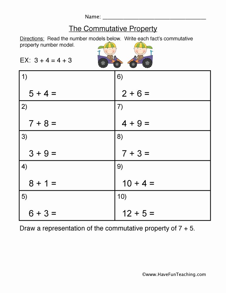 Properties Of Multiplication Worksheets top Mutative Property Addition Worksheet