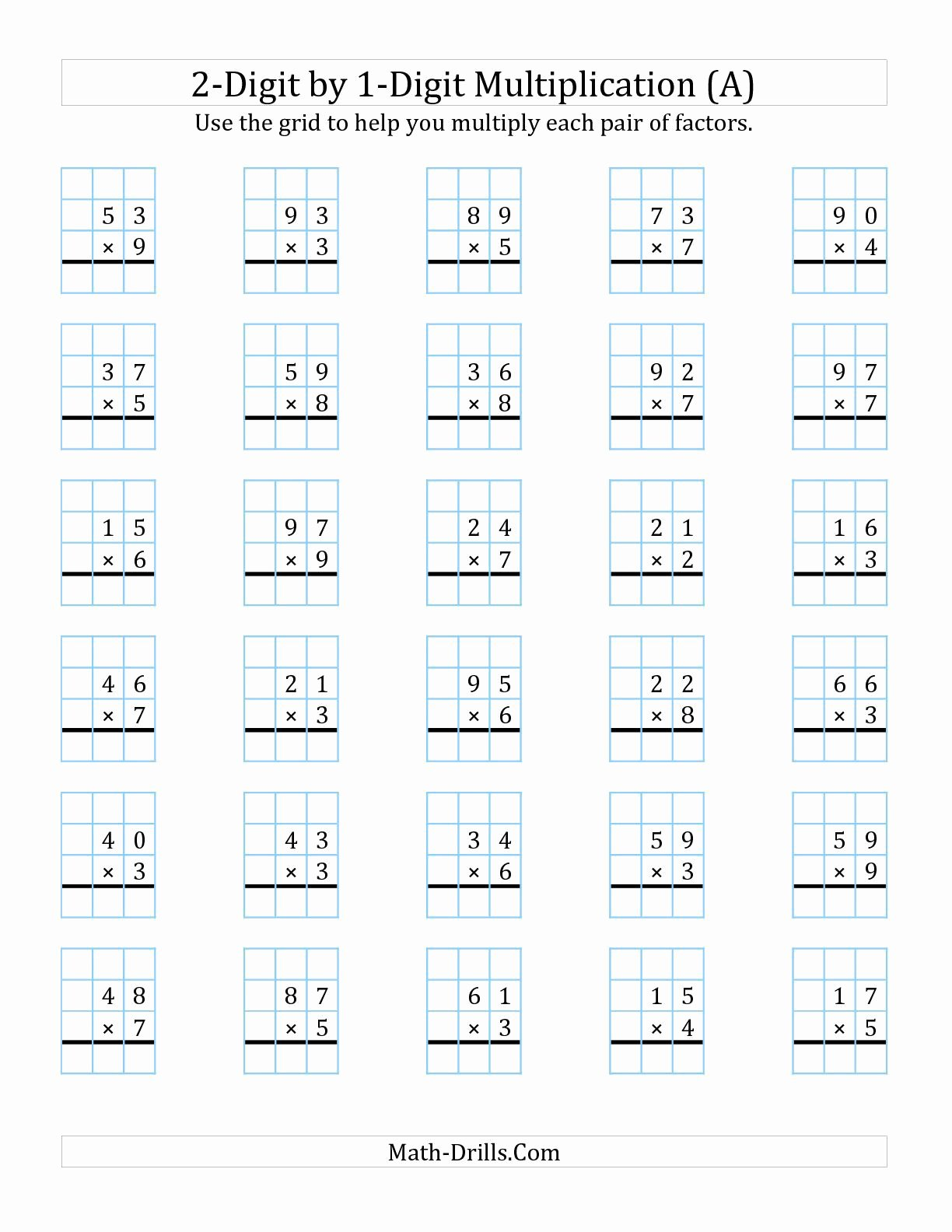 Regrouping Multiplication Worksheets top the 2 Digit by 1 Digit Multiplication with Grid Support A