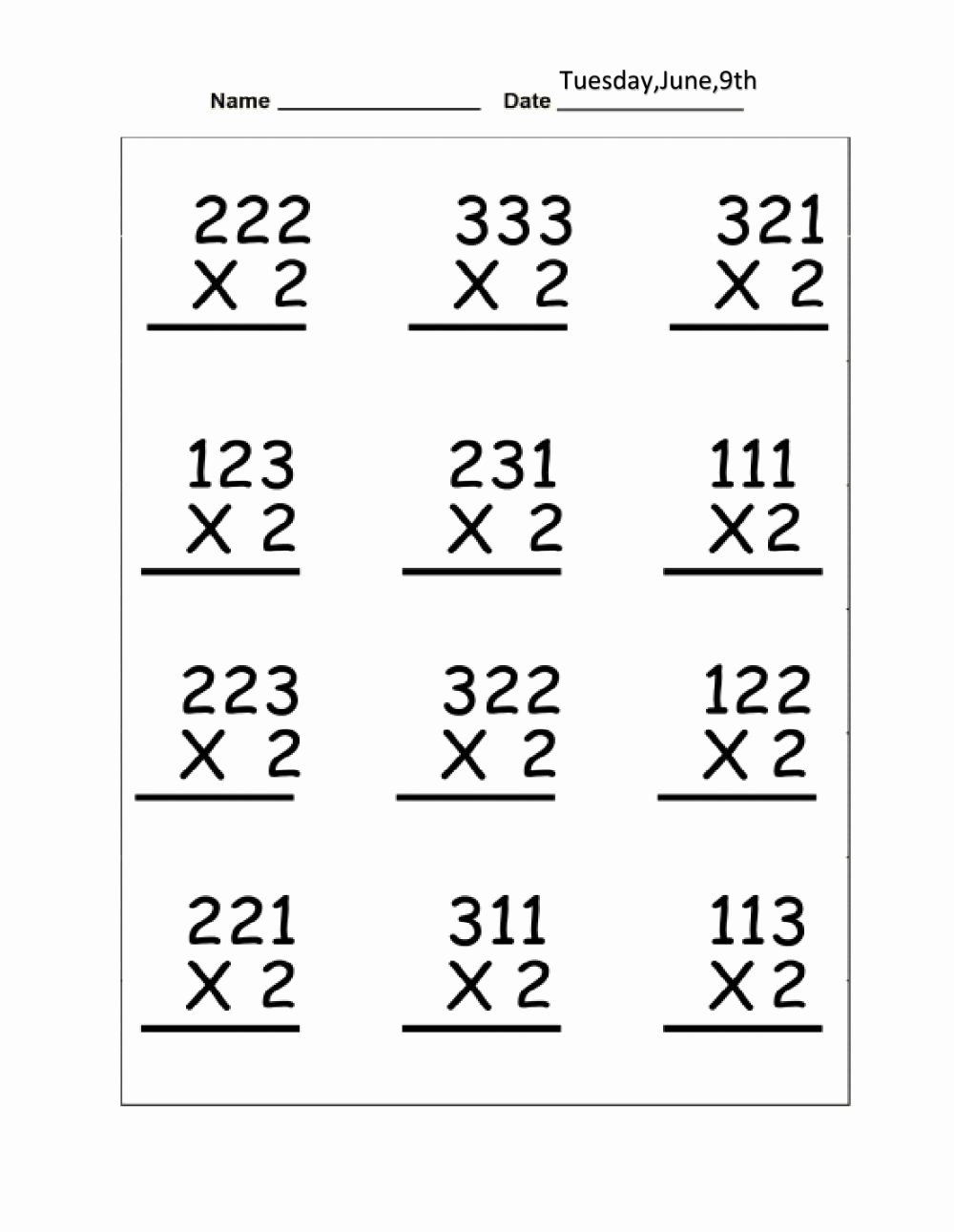 Regrouping Multiplication Worksheets Unique Multiplication without Regrouping Interactive Worksheet