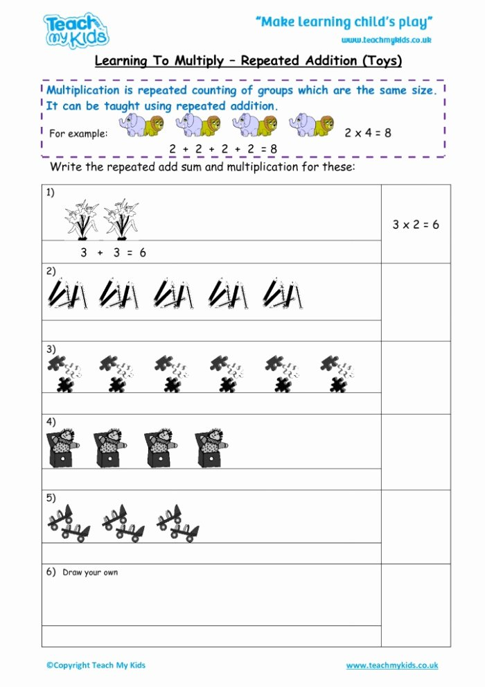 Repeated Addition and Multiplication Worksheets Unique Multiplication and Addition Worksheets