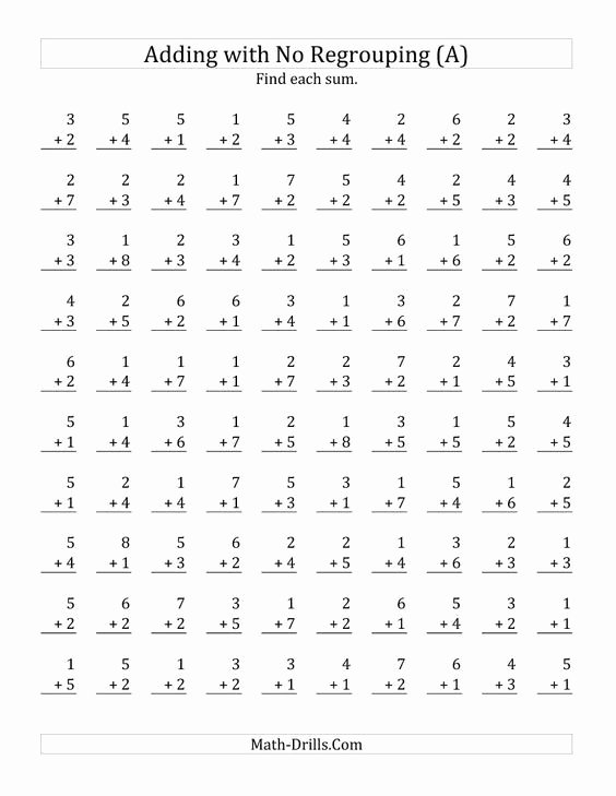 Single Digit Multiplication Worksheets 100 Problems Awesome 100 Single Digit Addition Questions with No Regrouping A
