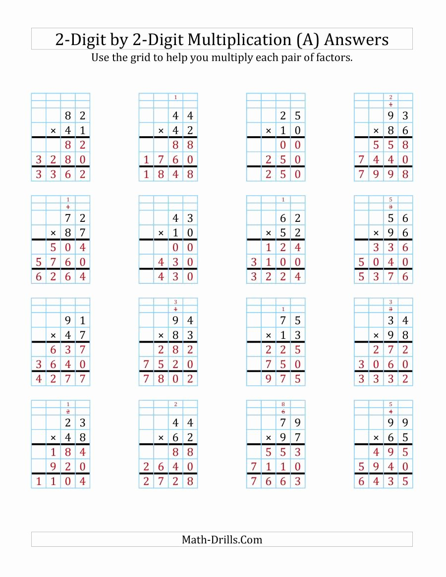 Standard Algorithm for Multiplication Worksheets Best Of 2 Digit by 2 Digit Multiplication with Grid Support A