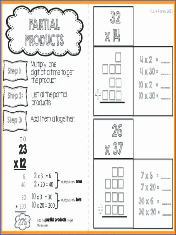 Standard Algorithm for Multiplication Worksheets Lovely Partial Products Worksheets Free Product Multiplication