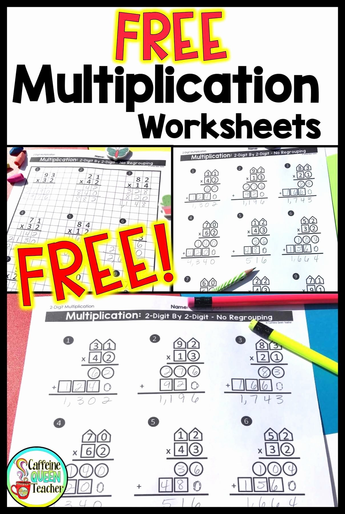 Standard Algorithm Multiplication Worksheets New 2 Digit Multiplication Worksheets Differentiated Caffeine