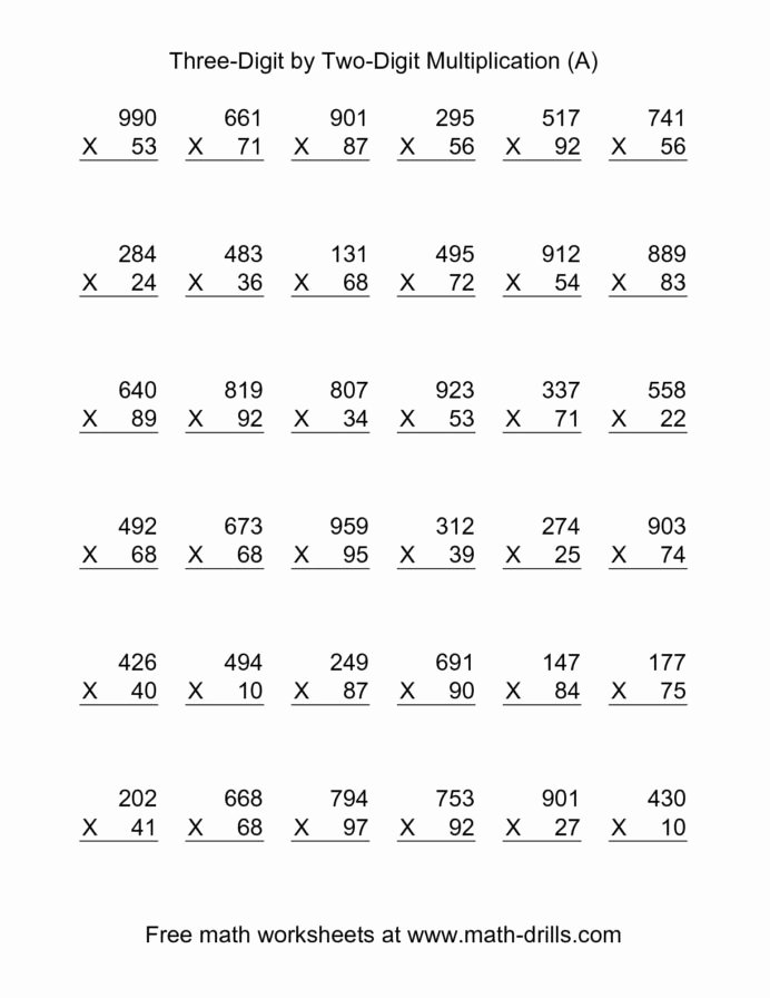 Three Digit Multiplication Worksheets Fresh the Multiplying Three Digit by Two Per Math Worksheets