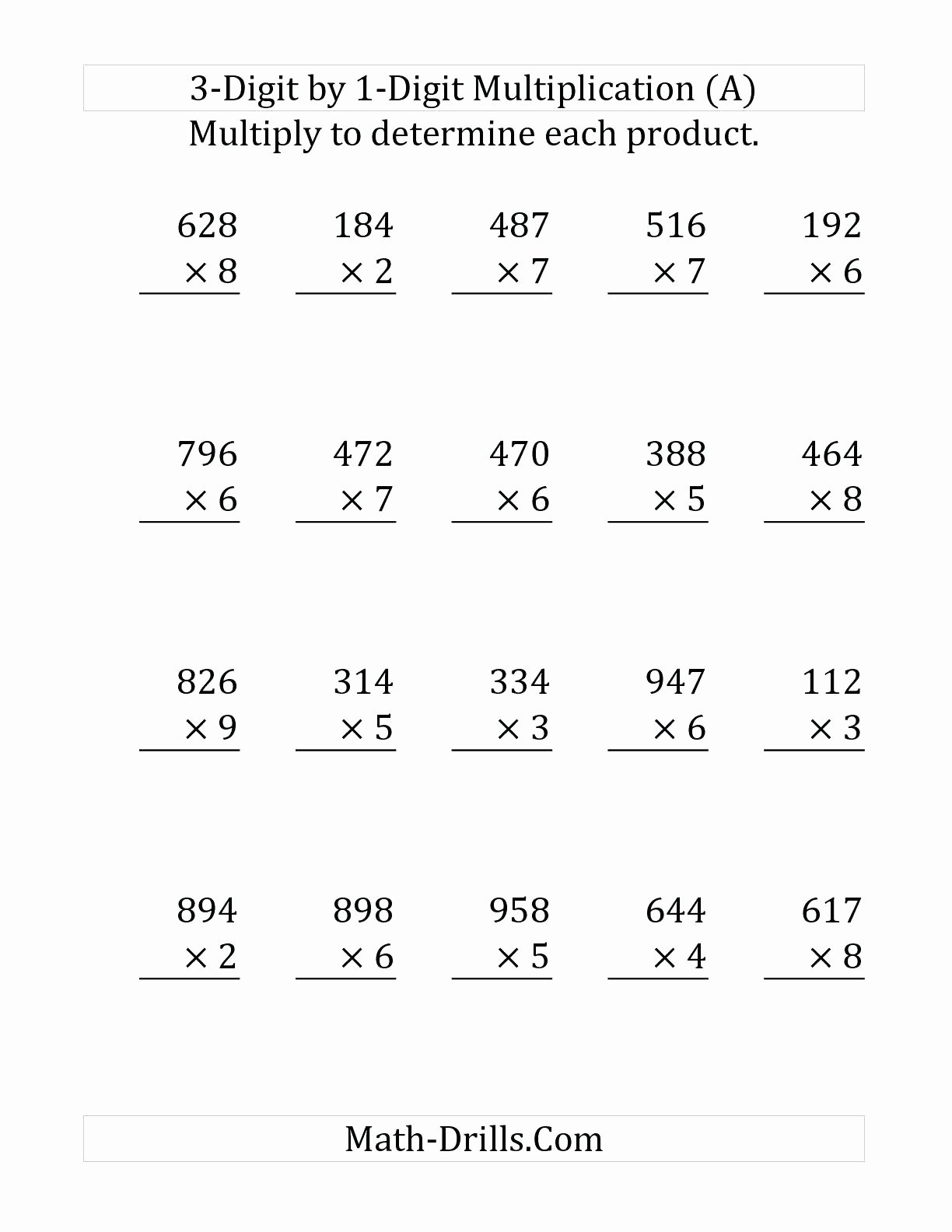 Three Digit Multiplication Worksheets New Three Digit Multiplication Worksheets Free Printable Triple