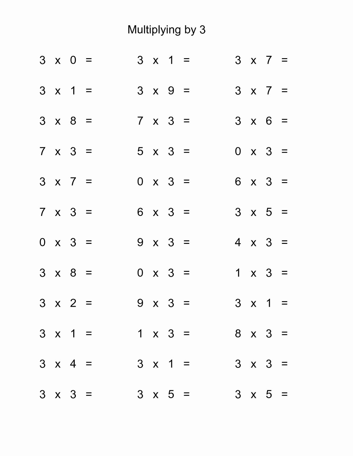 multiplication by 3 worksheets
