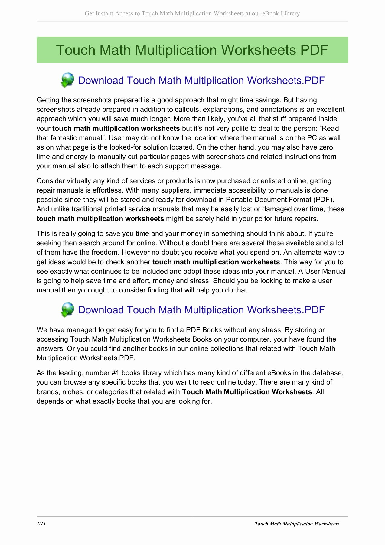 Touch Math Multiplication Worksheets Fresh touch Math Multiplication Worksheets Kristentro