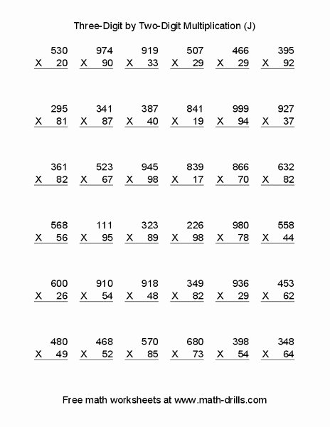 Triple Digit Multiplication Worksheets New Three Digit by Two Multiplication Worksheet for 4th 6th