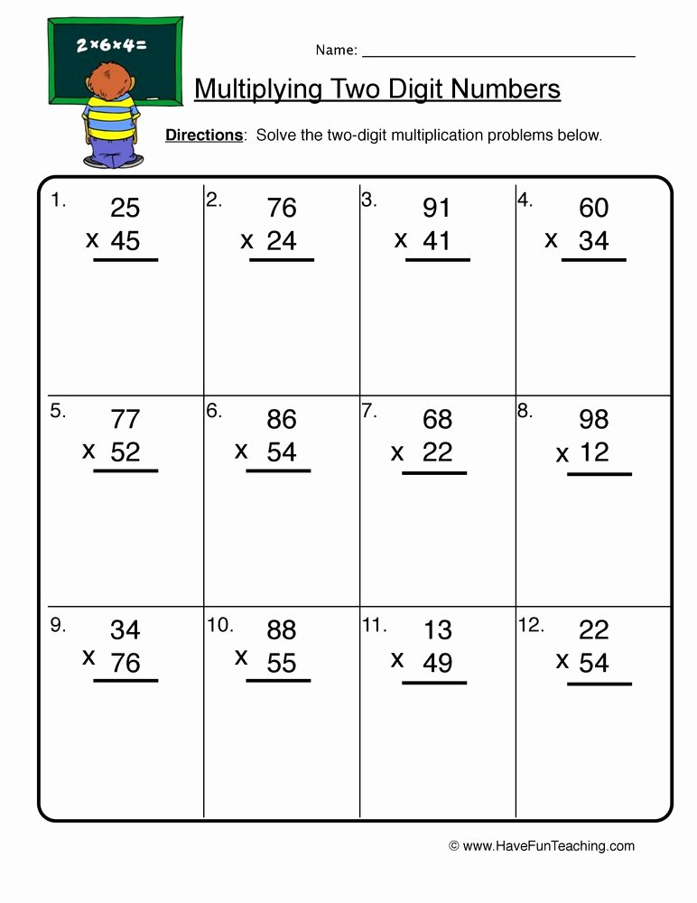 Two Digit by Two Digit Multiplication Worksheets top Two Digit Numbers Multiplication Worksheet