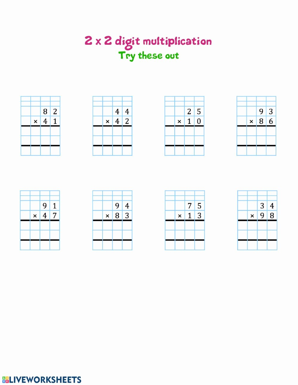 Two Digit Multiplication Worksheets Fresh 2 by 2 Digit Multiplication Interactive Worksheet
