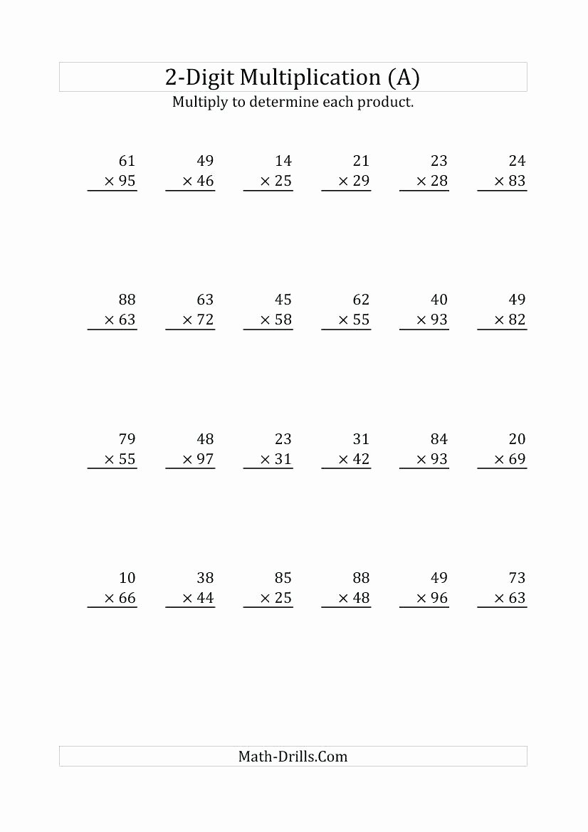 Two Digit Multiplication Worksheets New Multiplication 2s Worksheets the Multiplying 2 Digit by 1