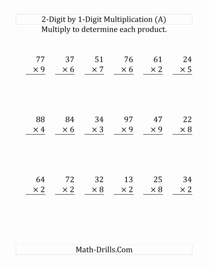 Two Digit Multiplication Worksheets New Two Digit by E Digit Multiplication Worksheets