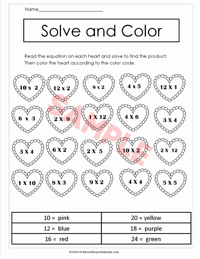Valentine Multiplication Worksheets Unique Valentine Third Grade Math Worksheets Multiplication Free