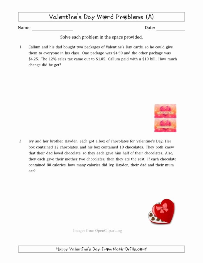 Valentine's Day Multiplication Worksheets top Valentine Math Word Problems Multi Step Worksheets